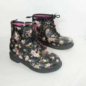 Girls Flowered Combat Style Boots